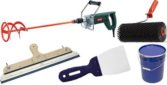 Инструменты для заливки наливного пола.