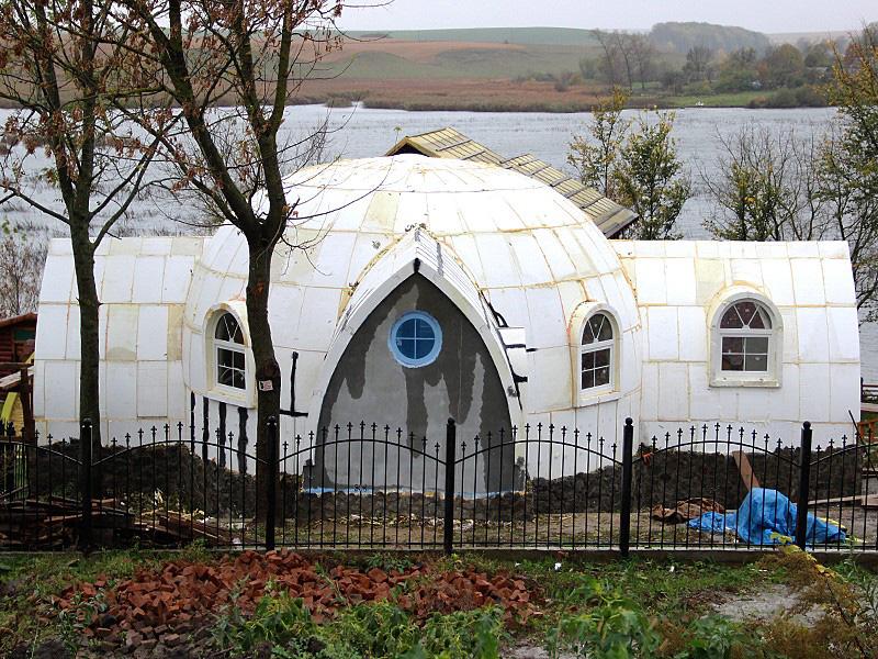 строительство купольного дома из пенопласта