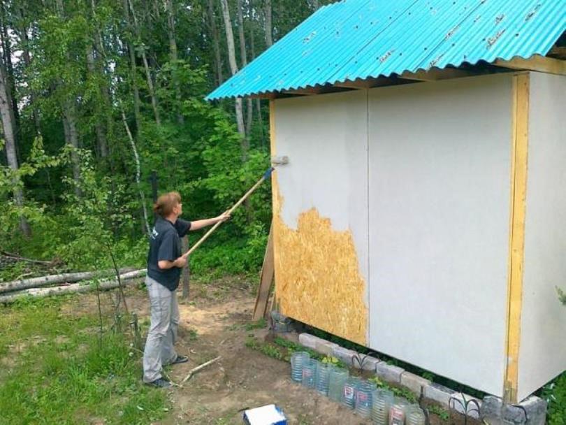 Окрашивание ОСБ снаружи дома