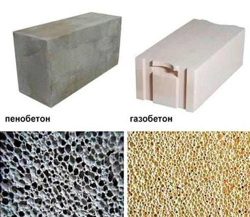 Пенобетон и газобетон отличаются цветом и структурой