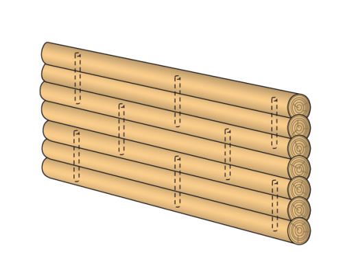 схема расположения нагелей в срубе
