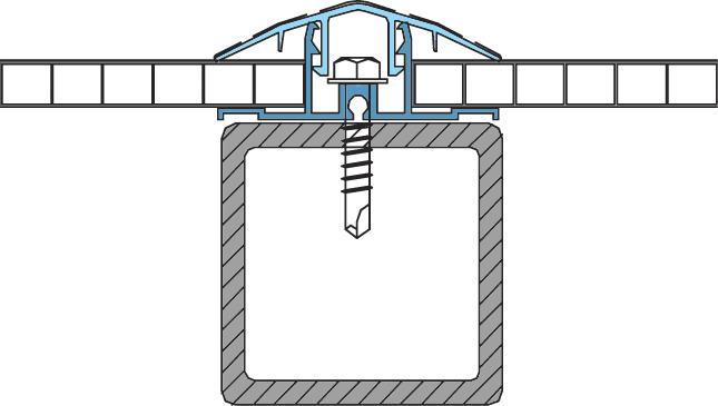крепление сотового поликарбоната к стропилам
