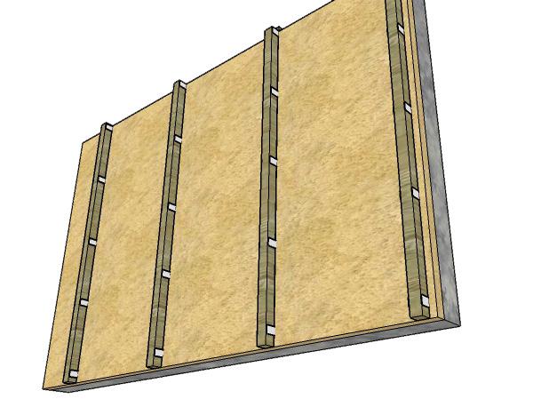 стена с обрешёткой
